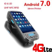 Android 7,0 5 ''экран беспроводной портативный pos-терминал с 1D 2D QR штрих-код Rearder 58 мм Принтер UHF NFC RFID камера