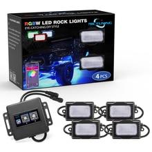 MICTUNING 4 стручки RGBW светодиодные горные фонари комплект водостойкий неон под днище кузова Атмосфера лампы Bluetooth Управление режим музыки Функция синхронизации