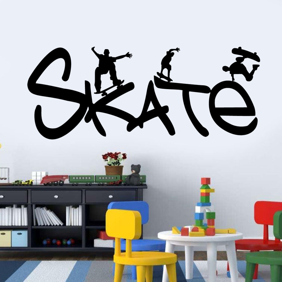 Skate Sport For Skate Lover Bedroom Vinyl Wall Sticker Removable
