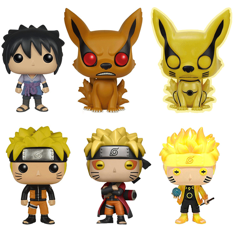 Naruto Uzumaki Immortal Mode Uchiha Sasuke Naruto Fox Cartoon Doll Action Figure PVC Bobble Head Q Edition For Car Decoration