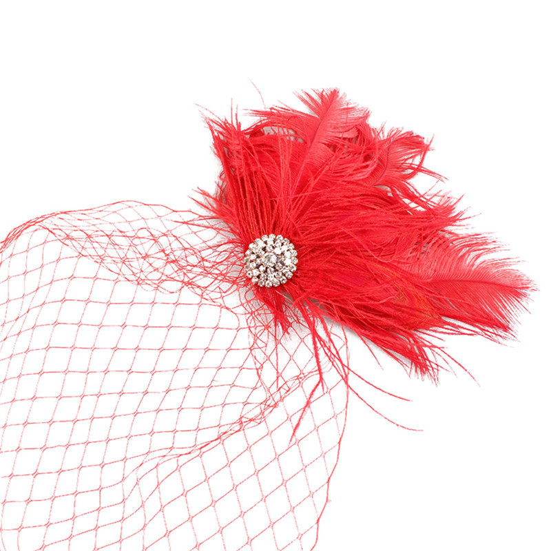 Купить с кэшбэком JaneVini Beaded Bridal Net Feather Hats Red Face Veil Bridal Feathers Fascinator Bride Wedding Hats for Women elegant Church Hat