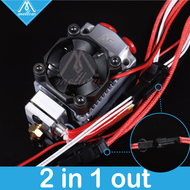 Mellow 12v/24v Cyclops and Chimera Extruder 2 In 1 Out 2 colors Hotend Bowden with Titan / Bulldog Extruder for 3D Printer I3 цена 2017