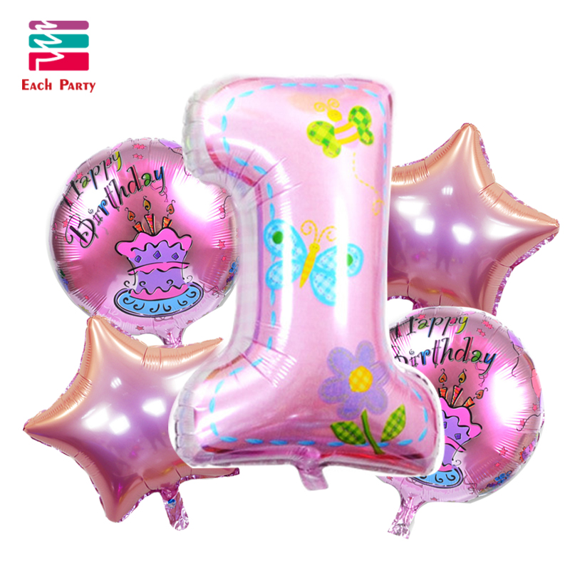 5pcs/lot Happy Birthday Decoration Number Foil Balloons Helium Balloon 1st Birth