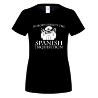 GILDAN Nobody Expects The Spanish Inquisition T Shirt Monty Python Gift Funny Present Womens 100 Cotton