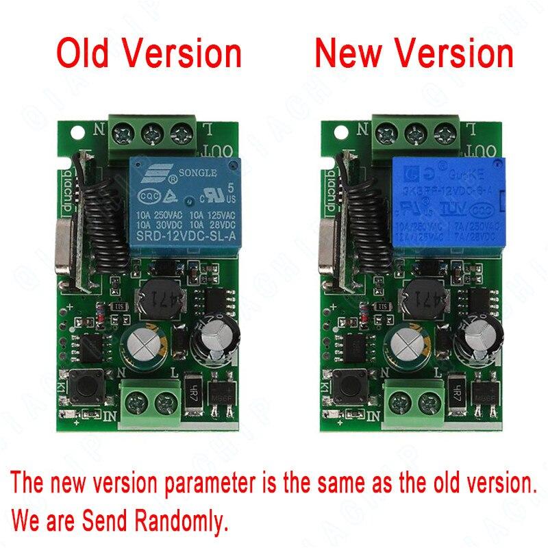 QIACHIP Universal inalámbrico de 433 MHz RF interruptor de Control remoto AC 110 V 220 V 1 CH RF relé módulo receptor interruptor de luz transmisor