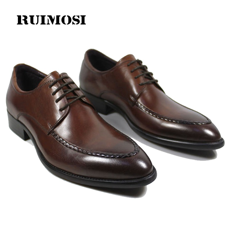 RUIMOSI Handmade Formal Man Derby Bridal Dress Shoes Genuine Leather Wedding Oxfords Luxury Brand Round Toe Men's Footwear QC18
