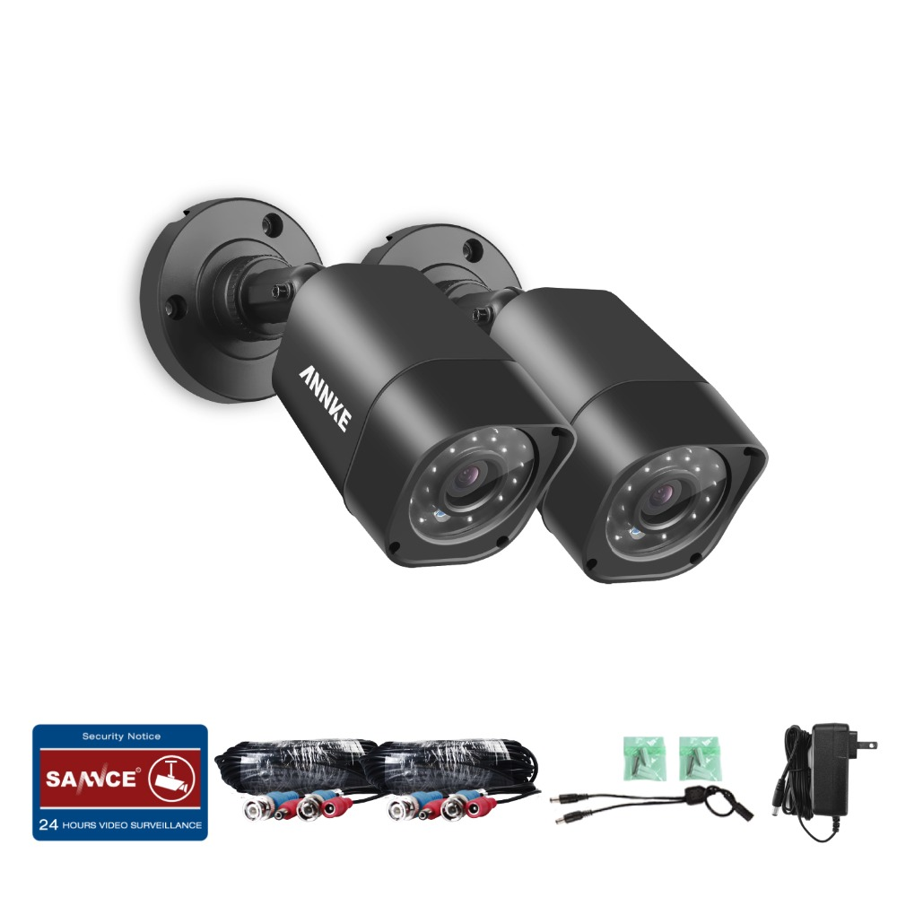 ANNKE 2 pcs C11BX 720P HD-TVI Security Camera with Weatherproof Housing and 66ft Super Night Vision