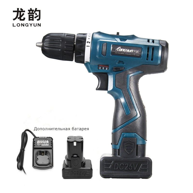 25V multi function Electric Screwdriver Household Cordless Charging Electric Drill bit Rechargeable Lithium Battery 2 Power