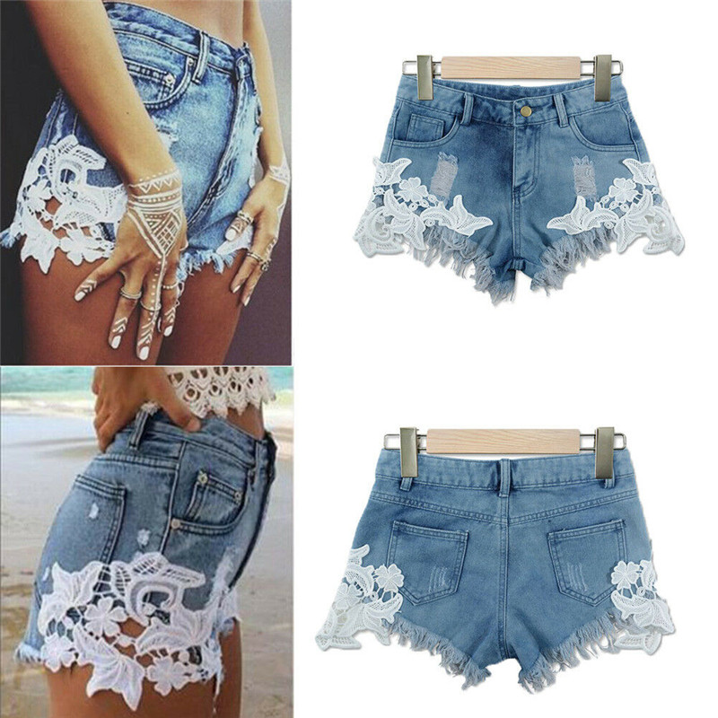 Hot Sale Sexy Women Lady Extreme Distressed Shorts Jeans Lace Patchwork Destroyed Jeans Embroidery Skinny High Waist Denim Jeans