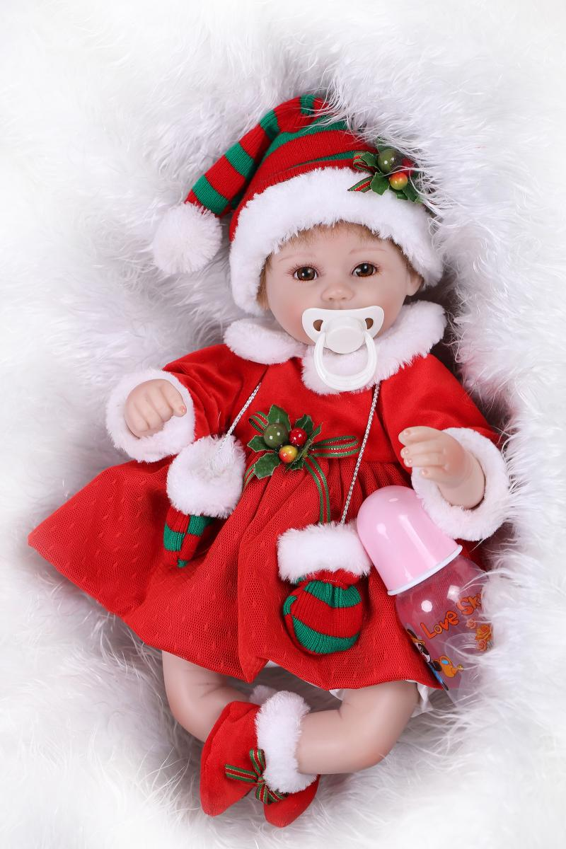 40CM Soft Silicone Reborn Dolls Lifelike Reborn Bebe Doll Girls Santa Christmas Xmas Gifts Pecifier Bonecas40CM Soft Silicone Reborn Dolls Lifelike Reborn Bebe Doll Girls Santa Christmas Xmas Gifts Pecifier Bonecas