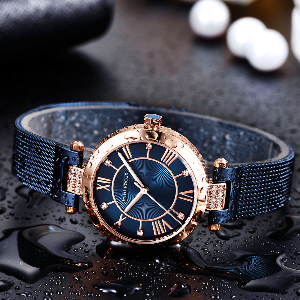MINI FOCUS New Fashion Casual Quartz Women Watch Ultra Thin Blue Mesh Strap Crystal Roman Numeral Simple Dial Ladies Wristwatch
