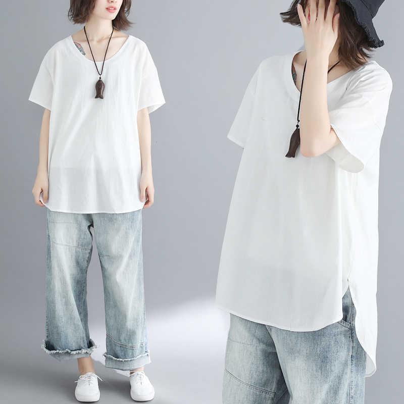 Z-ZOUX Donne T Shirt di Cotone Bianco della Maglietta Irregolare Top A Manica Corta Delle Donne Asimmetrico Top Lungo Allentato Più Il Formato di Estate Magliette