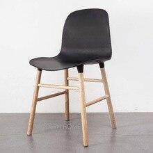 Модный современный дизайн популярный классический креативный пластиковый массив дуба дерево обеденный стул со спинкой, деревянный чердак компьютерный дизайн стула