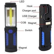 Lanterne lampe torche à LED Portable COB Rechargeable par USB, lumière de travail, lampe de Camping, avec batterie intégrée et crochet magnétique