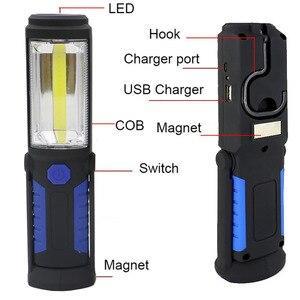 Image 1 - Lanterne lampe torche à LED Portable COB Rechargeable par USB, lumière de travail, lampe de Camping, avec batterie intégrée et crochet magnétique