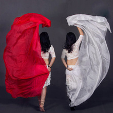 100% Seda Dancewear Desempenho Luz Cor Sólida Textura Véu Xales Lenço Das Mulheres Trajes Acessórios Véus de Dança Do Ventre