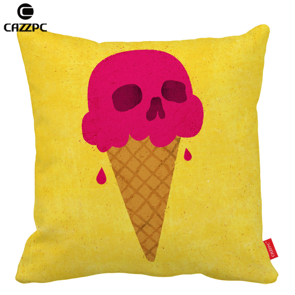 Vintage Yellow Skull Scoop Pink Icecream Print Car Decorative Pillowcase Pillow cases Cushion Covers Sofa Home Decor
