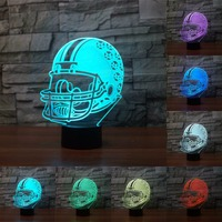 Acrylic 7 Color Change Rugby Hat 3D Led Night Lights For Kids Touch Sensor USB Led