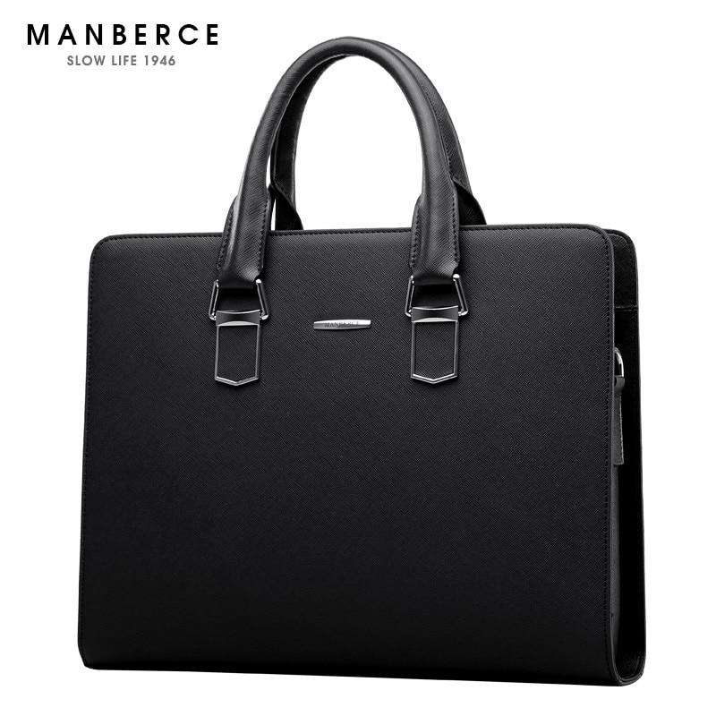 Motiviert Manberce Aktentaschen Mode Handtasche Männer Schulter Tasche Marke Leder Tote Laptop Tasche Business Männer Messenger Casual Reisetasche Attraktives Aussehen Herrentaschen