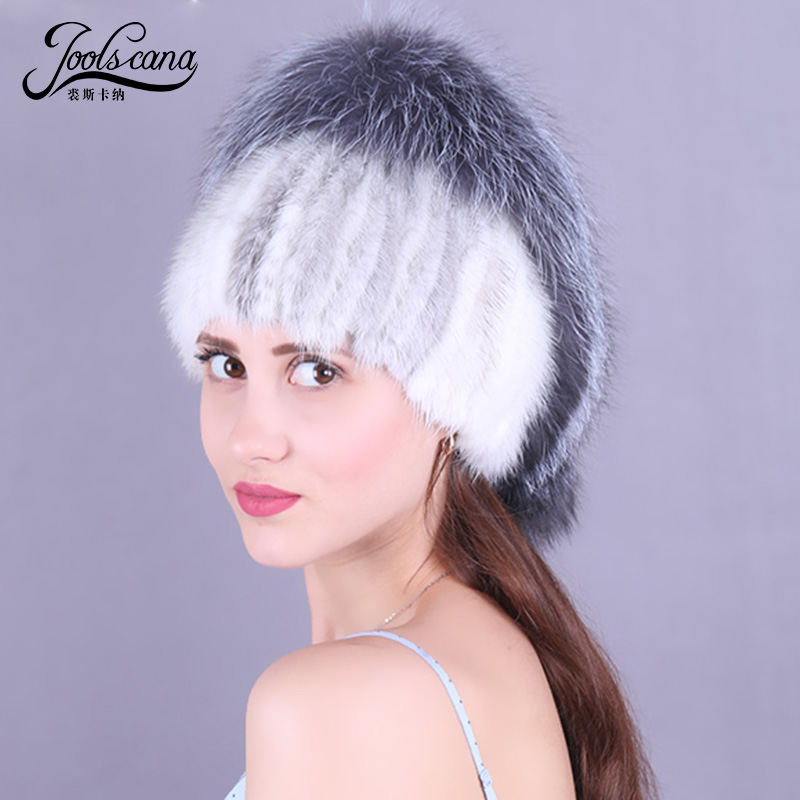 Joolscana russian fur cap real mink fur hat with fox pompom winter hats for women winter beanie exquisite high quality caps russian phrase book