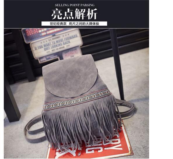 New Design Fashion Casual Shoulder Tassel National Wind Pump Matte Travel Bag