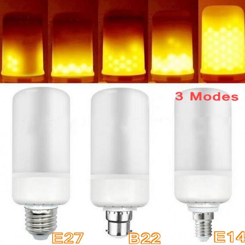E27 E14 B22 Led Flame Lamps LED Flame Effect Light Bulb 85~265V Flickering Emulation Fire Lights 9W Decorative Lamp