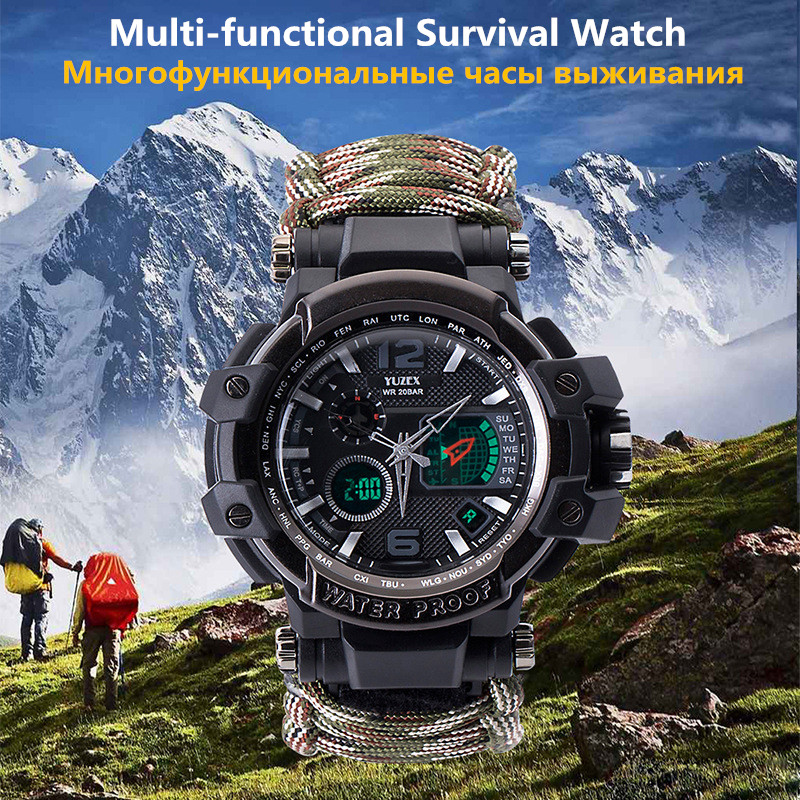 New Outdoor Survival Watch Bracelet Multi-functional Waterproof 50M Watch For Men Women Camping Hiking Military Tactical Camping (7)