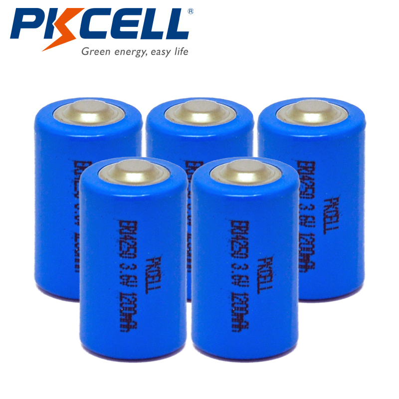 PKCELL 5pcs 14250 1200mah <font><b>1</b></font>/2AA <font><b>Battery</b></font> <font><b>3.6V</b></font> ER14250 1200Mah <font><b>1</b></font>/<font><b>2</b></font> <font><b>AA</b></font> LS Li-SOCl2 Unrechargeable <font><b>Lithium</b></font> <font><b>Batteries</b></font> RAM/CMOS image