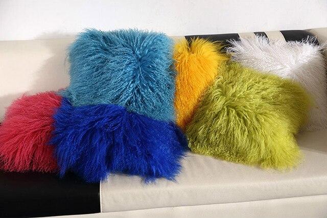 ESSIE HOME 6 colors Mongolian fur cushion 100% wool beach Woolfell cushion fur pillow case cover high end pillow