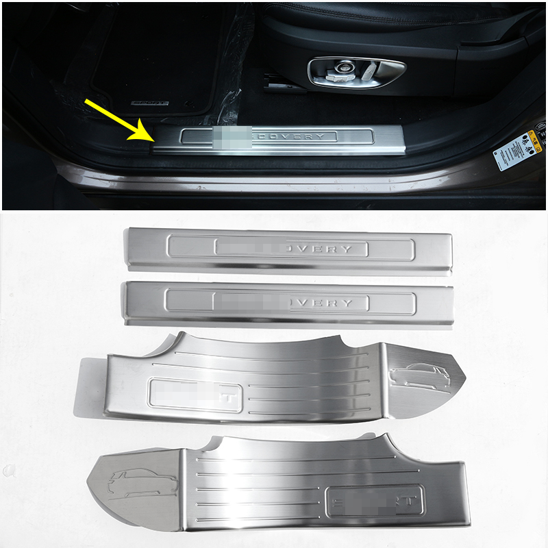 For Land Rover Discovery Sport 7 Seats 2015-2017 Door Sill Plate 304 Stainless Steel Protector Car Accessories 4pcs leather car seat covers for land rover discovery sport freelander range sport evoque defender car accessories styling