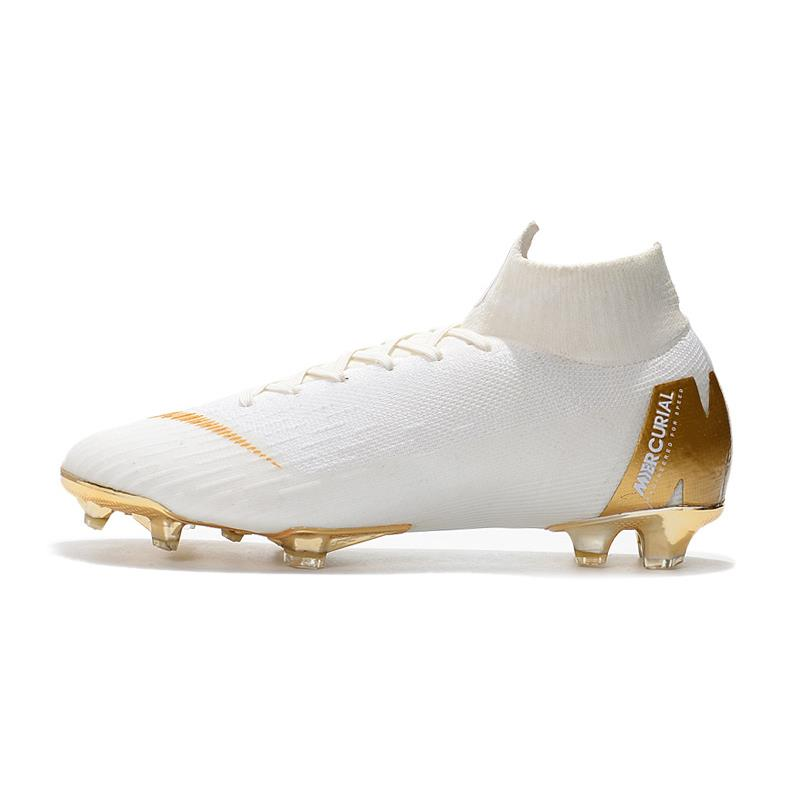 84320c8a5ab08 NIKE Mercurial Superfly VI 360 Elite FG 39-45 White Gold Men Football Boots  Men Soccer Shoes New Arrival