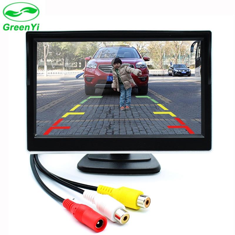 Greenyi 5 дюймов автомобиля TFT Цвет ЖК-дисплей заднего вида Мониторы цифровой Экран Дисплей Поддержка VCD DVD GPS Камера с 2 видео входы