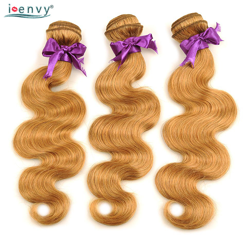 I Envy Blonde Body Wave Bundles Brazilian Hair Weave Bundles #27 Honey Blonde 1 3 4 Bundles Deals Non Remy Human Hair Extensions
