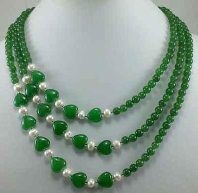 30%オフ卸売価格速い船積み>>@> N2193グリーンヒスイ6ミリメートルビーズ10ミリメートルハート形の真珠3行ネックレス新しい新しいホット販売