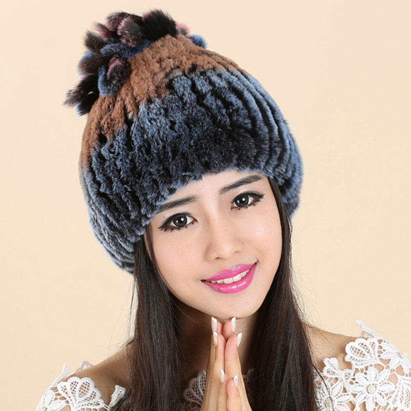 Women Cap Hats For Real Fur Knitted Winter Gorros Beanie Female Russian Hat Femme Toucas de Inverno feminina Women's