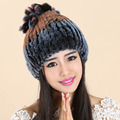 Women Cap Hats For Women Real Fur Knitted Winter Gorros Beanie Female Russian Hat Femme Toucas de Inverno feminina Women's Hats