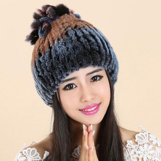 02b5a2abf0c Women Cap Hats For Women Real Fur Knitted Winter Gorros Beanie Female  Russian Hat Femme Toucas