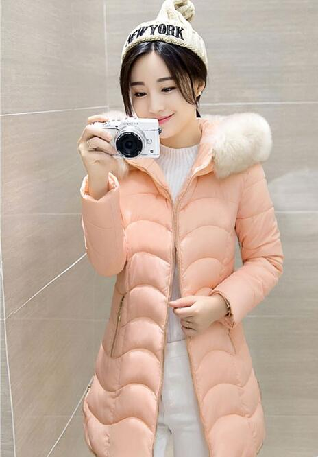 2017 Kış Kadın Moda Uzun Kalın Sıcak Aşağı Pamuk Ceket Kadınlar Yüksek Kalite Kürk Yaka Ince Ceket Kadın Palto Parka
