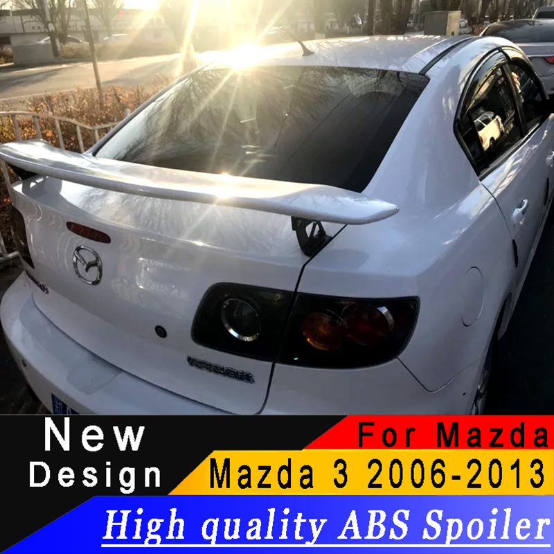 For Mazda 3 M3 2006 to 2013 Racing rear wing spoiler primer or any color bracket spoiler high quality ABS material tail spoiler