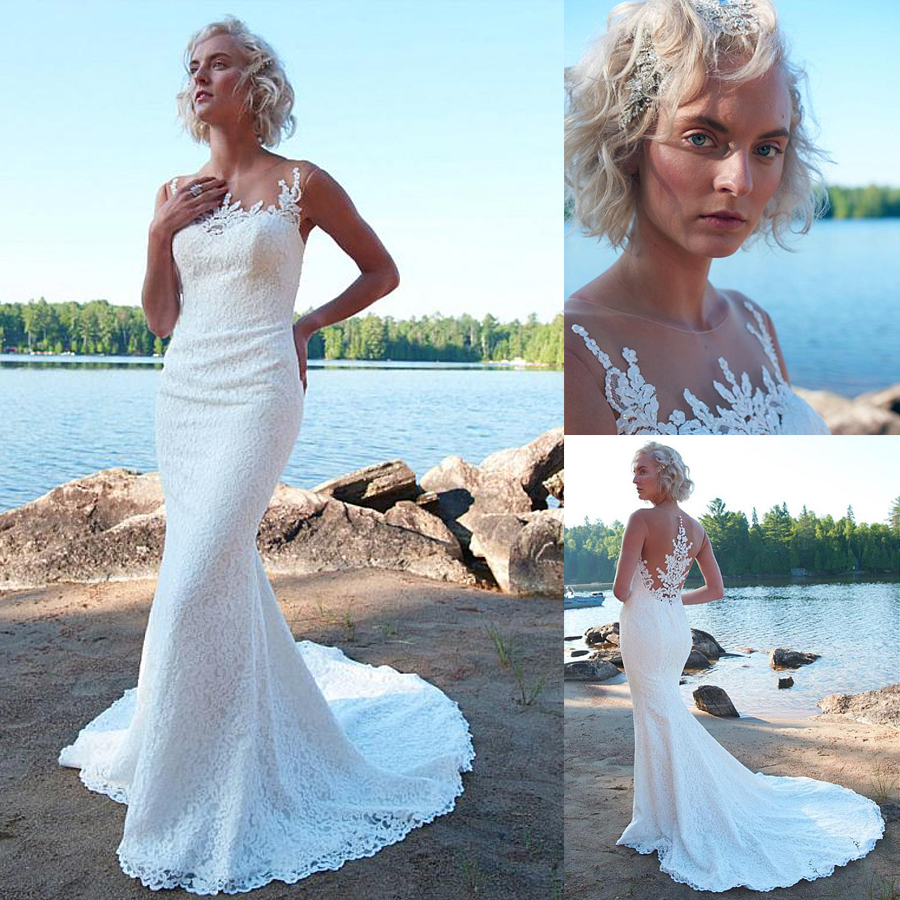 Delicate Lace & Tulle Sheer Jewel Neckline Mermaid Wedding Dress With Beaded Lace Appliques Beach Bridal Gowns