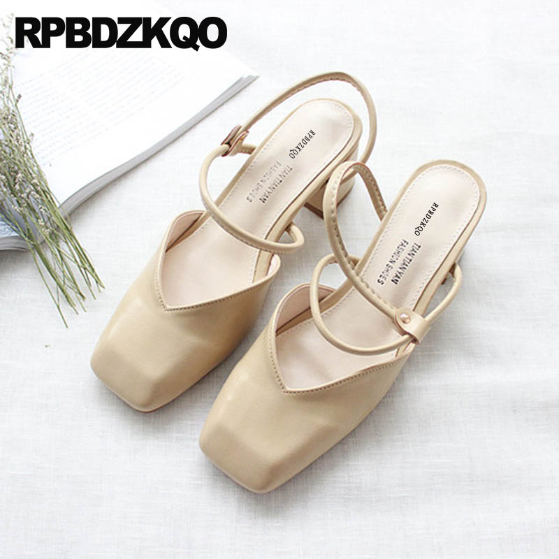 Detail Feedback Questions about Chunky Block 2018 Ladies Shoes Designer  Square Two Strap Sandals Slingback Fashion Cheap Female Closed Toe Thick  Summer ... 0fa5435b310f