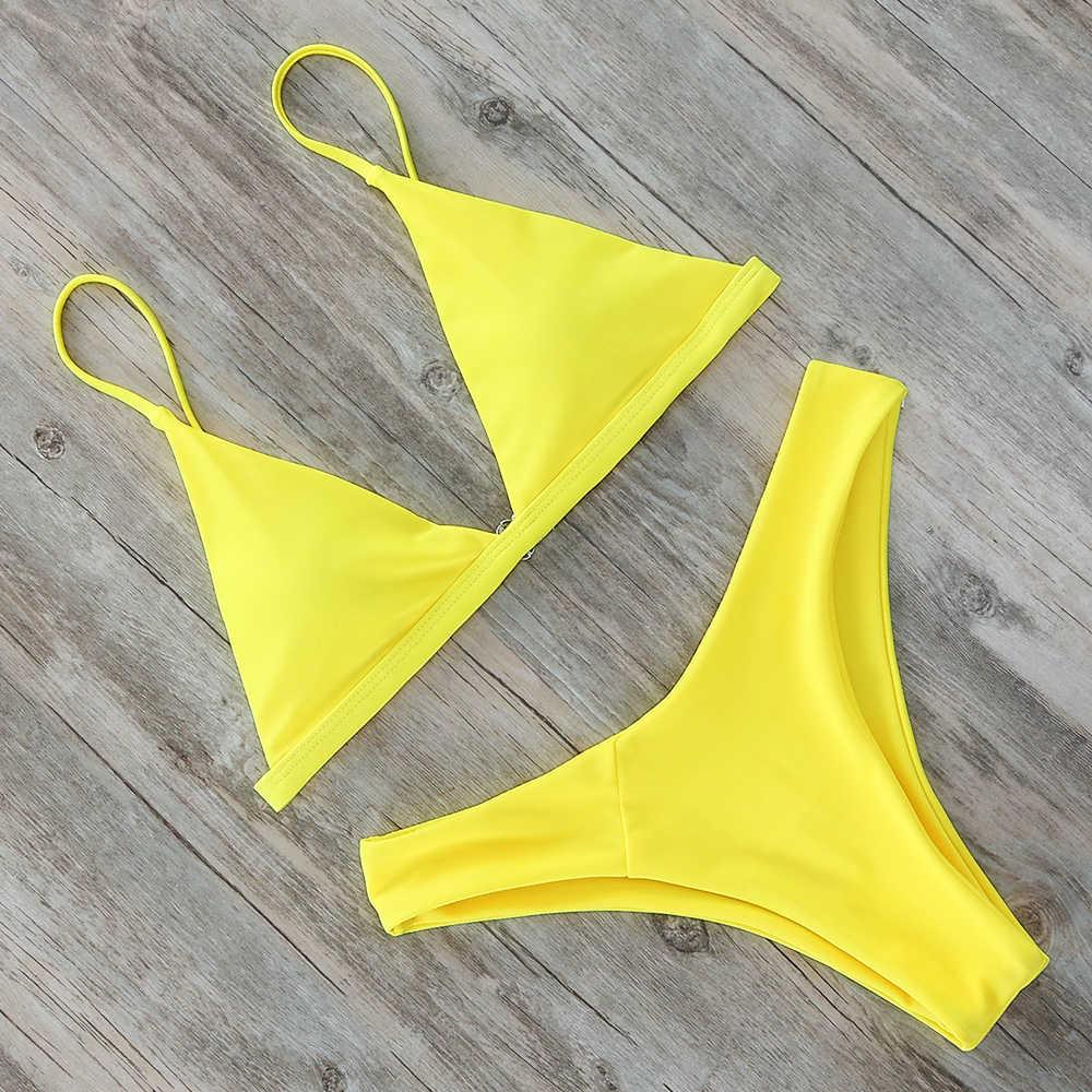 Mini Bikini Set Micro Costume Da Bagno Delle Donne Push Up Bikini 2020 Sexy Costumi Da Bagno Halter Bandage Costume Da Bagno Solido Mayo Brasiliano Biquini
