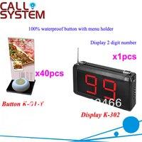 무선 서비스 시스템 K-302 + O1-Y + h 메뉴 홀더 및 2 자리 디스플레이가있는 1 키 버튼이있는 식당 용 dhl 무료 배송