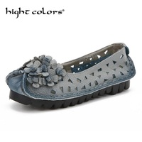 New Vintage Handmade Hollow Style Women Flats Casual Shoes Genuine Leather Lady Soft Bottom Shoes For