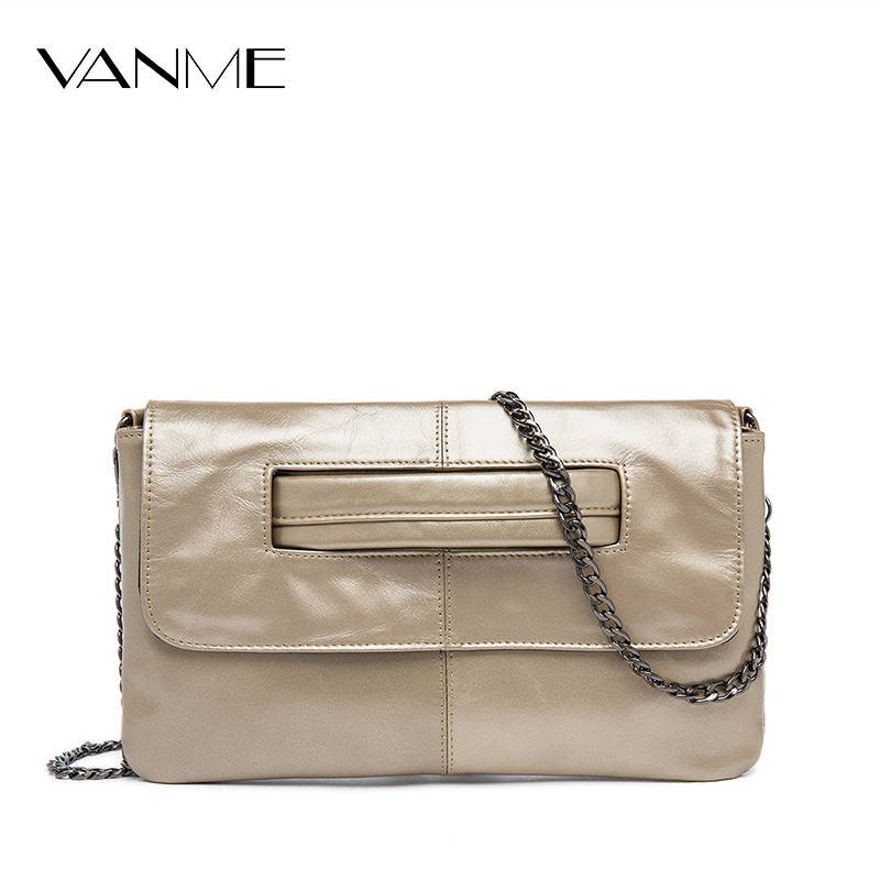Popular 2017 Genuine Leather Women Clutch Bag Chains Envelope Messenger Bag Shoulder Bag Casual Crossbody Bag For Party Daily 2017 new genuine leather tassel messenger bag women shoulder bag envelope women clutch bag small crossbody party bag black blue