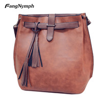 FangNymph 2018 New Women Tassel PU Leather Bucket Shoulder Bag Female Vintage Fashion Handbag Crossbody Bag S/L Bolsos Feminina