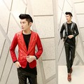 2016 Metrosexual Casaco Novo Ternos Pequeno Personalidade Cultivo Coreano Único Botão Casual Homens Terno Vermelho Patchwork Fino Blazer