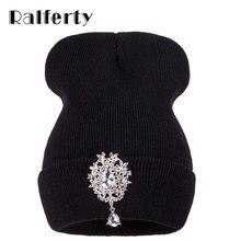 Ralferty 2018 nuevos sombreros de invierno para las mujeres caliente de  punto de lujo de cristal flor sombrero mujer sombrero Go. b4ff85d2ad39