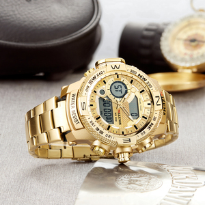 Image 3 - Quartz Digital Watch Men Sports Watches Man LED Waterproof Chrono Military Relogio Masculino Fashion Gold Steel Mens Wristwatch