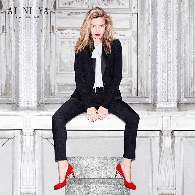 dc50d24aedb4 € 83.63 6% de DESCUENTO|Nuevos diseños mujer negocios Trajes negro blazer  work wear dos piezas Sets señoras pantalón formal traje uniforme de ...
